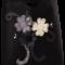 Siyah Üzeri Gri Çiçekli Keçe Çanta